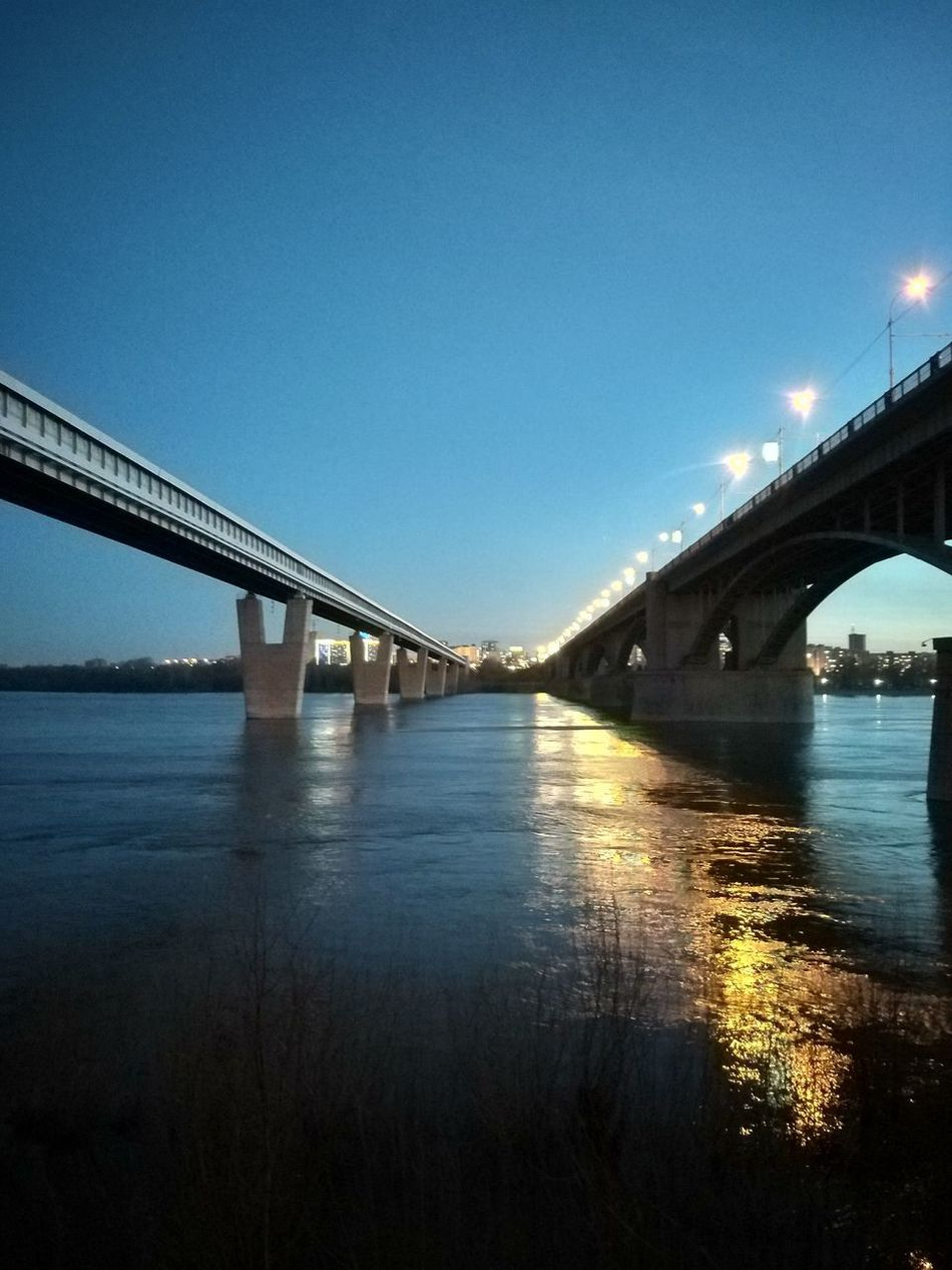 Bridge - Man Made Structure Connection Architecture Built Structure Night River Water City No People мост Новосибирск Novosibirsk