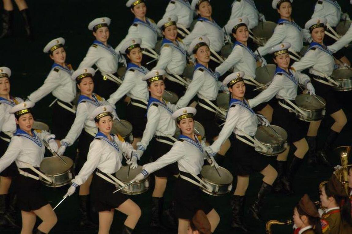 North Korea Arirang Show Dancing Girls Walk This Way Precision
