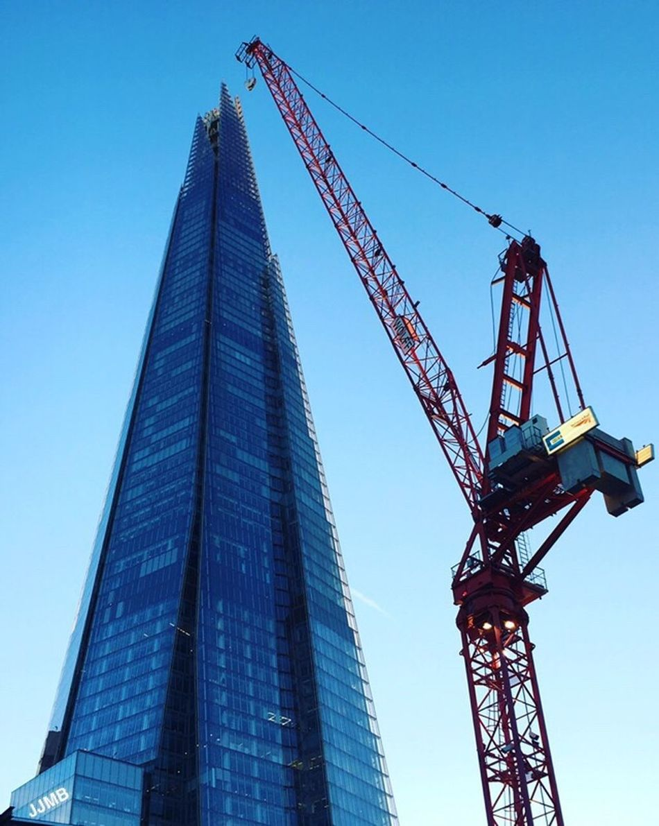 Up, close and personal with The Shard Low Angle View Blue Clear Sky Architecture Skyscraper Photography