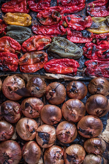 Peppers and onions cooked in the oven at the Catania street Market Market Abundance Backgrounds Close-up Color Colorfood Food Food And Drink Freshness Full Frame Healthy Eating In The Owen No People Stall Street