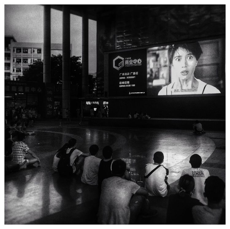 Black And White Watching A Movie School Relaxing Enjoying Life Terror Light And Shadow IPhoneography