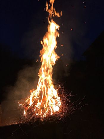 Night Burning Flame Nature Beauty In Nature Heat - Temperature