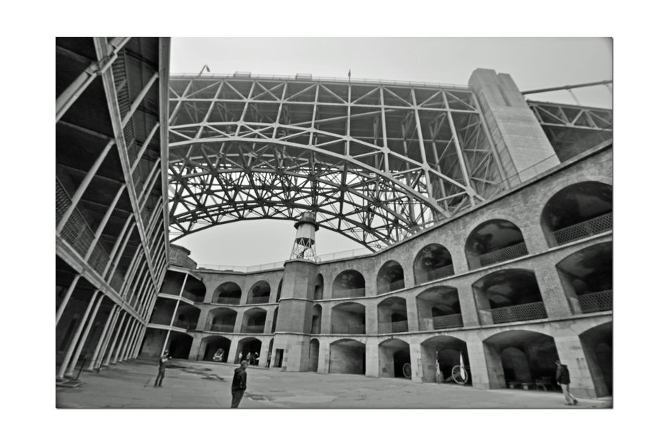 Golden Gate Bridge @ Fort Point 8 San Francisco Bay Golden Gate Bridge 1937 Fort Point 1861 Lighthouse Fog Low Angle View Bnw_friday_eyeemchallenge Military Base Men Looking Arch Bridge Arch Bridge Span Fort Structure Barracks Arch Ways Cannons Monochrome Architecture Architectural Details Black & White Black And White Photography Black And White Black And White Collection
