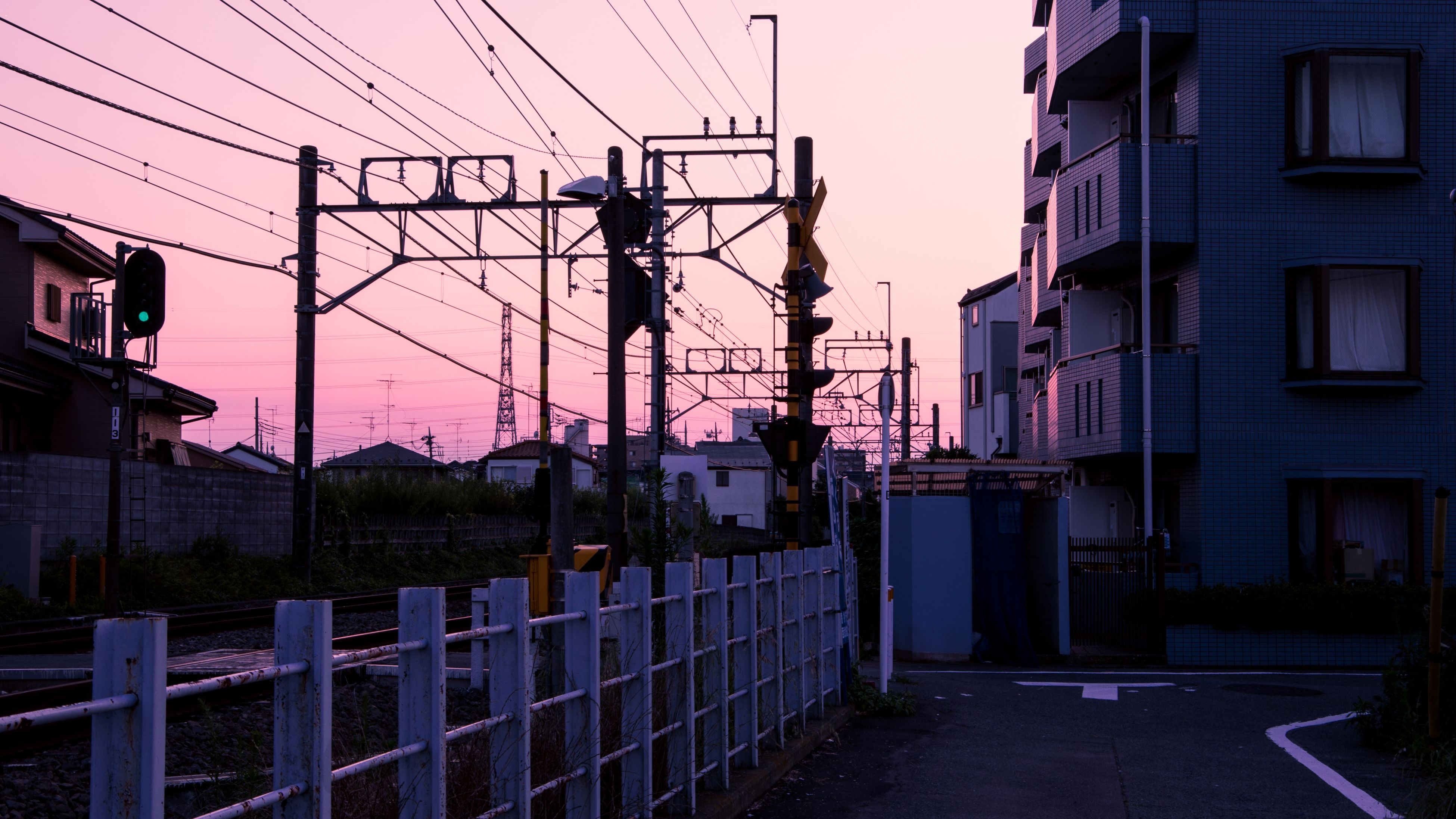 building exterior, architecture, built structure, power line, electricity pylon, cable, sky, electricity, transportation, city, street, power supply, street light, fuel and power generation, residential structure, residential building, building, the way forward, outdoors, connection