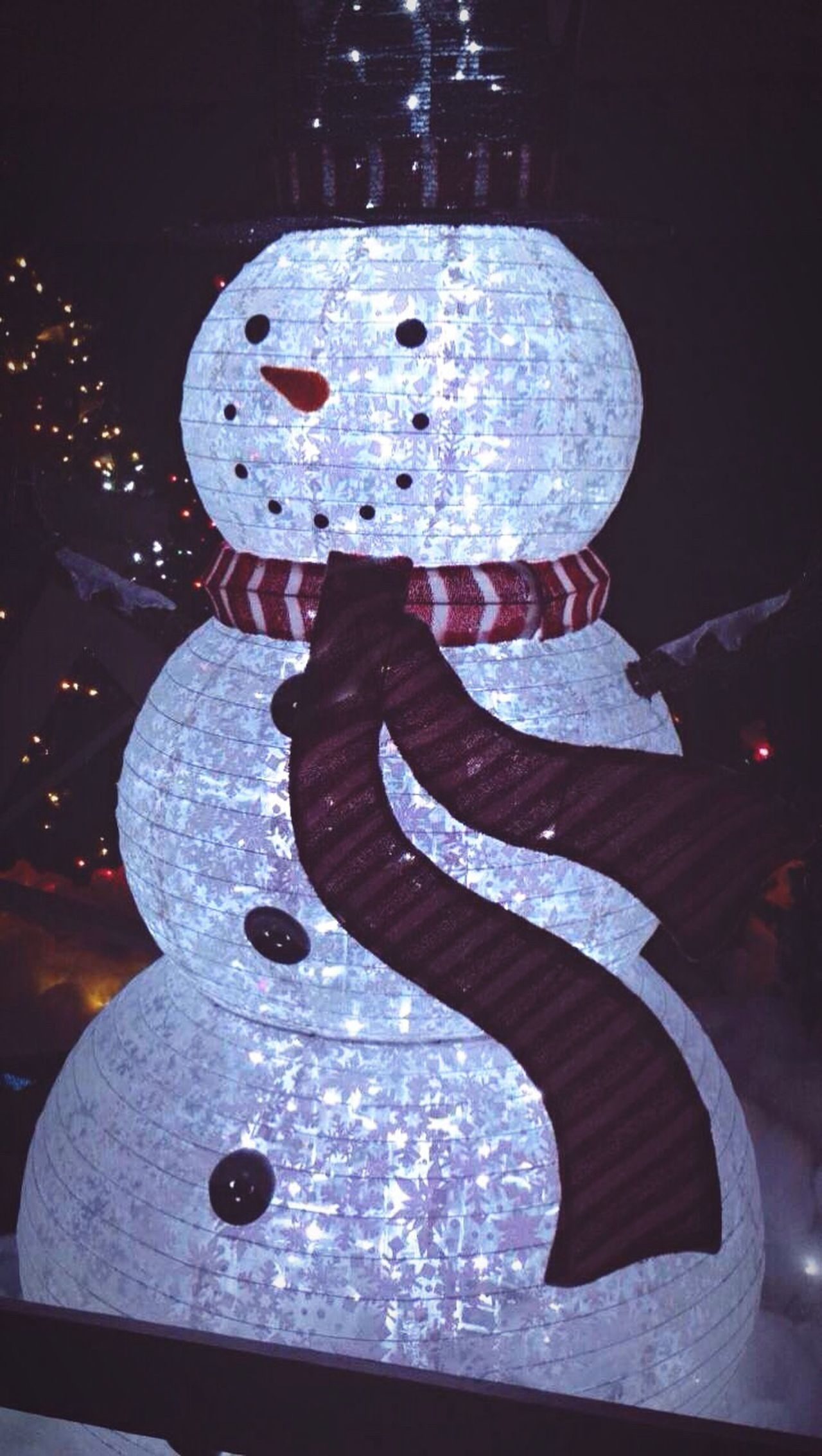 Christmas Decoration Close-up Illuminated No People Bright Light Snowman Children's Wonderland Design Pattern Scarf