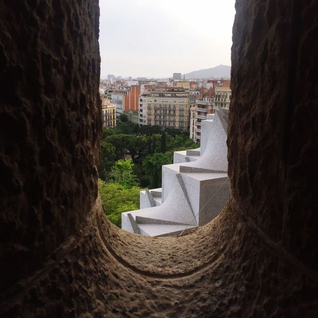Sagradafamilia Sagrada Familia City View  Stone Windows Stone Wall View From Above View Through The Window Viewing Barcelona