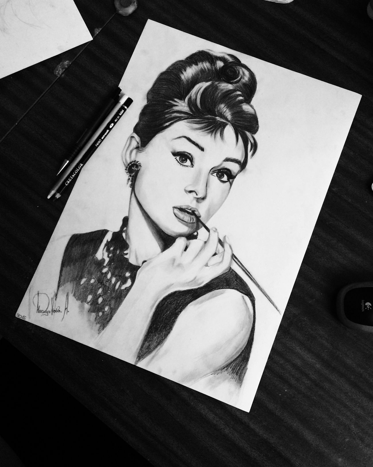 Awesome Beauty Face Hello World Girl OpenEdit Art, Drawing, Creativity Drawing Portrait Myhobby Sketch Illustration Black & White ArtWork Pretty Art Draw Beautiful Audry Hepburn
