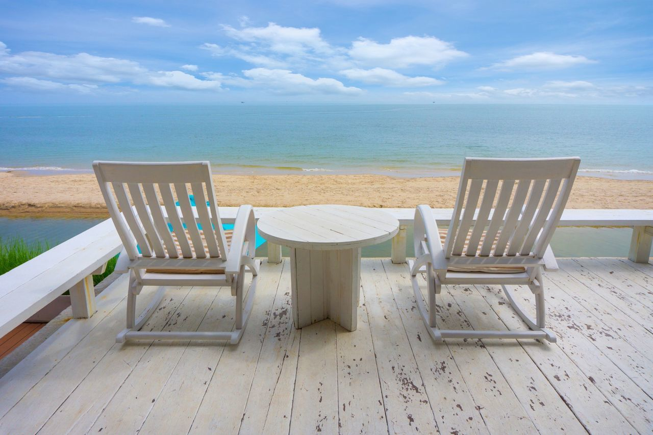 Sea Beach Chair Table Sky Sand Horizon Over Water Relaxation Nature Summer Wood - Material Tranquil Scene Scenics Beauty In Nature Water Vacations Tranquility Outdoor Chair No People Cloud - Sky Travel Traveling