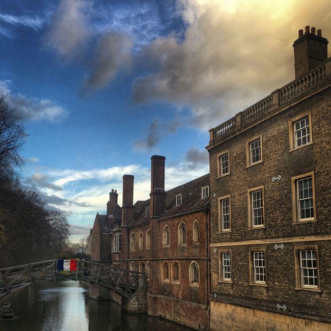Cambridge Queens College Bridge Mathematical Bridge France Flag River River Cam Cambridgeshire England