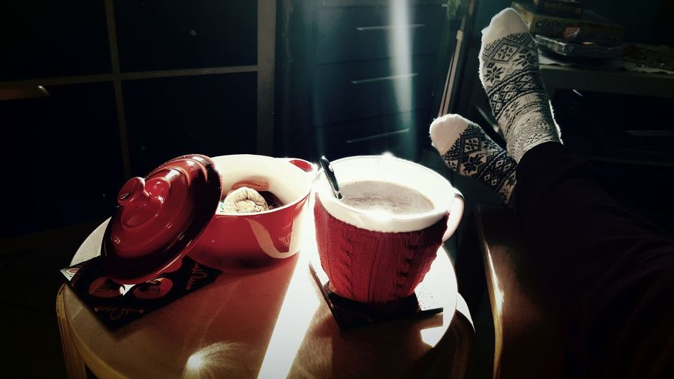Winter pleasure Indoors  Hot Chocolate Wintertime Simple Things In Life Close-up Capturing The Moment Rayoflight Wintersunnyday Season  Socks Selfie Feets Christmastime Winter