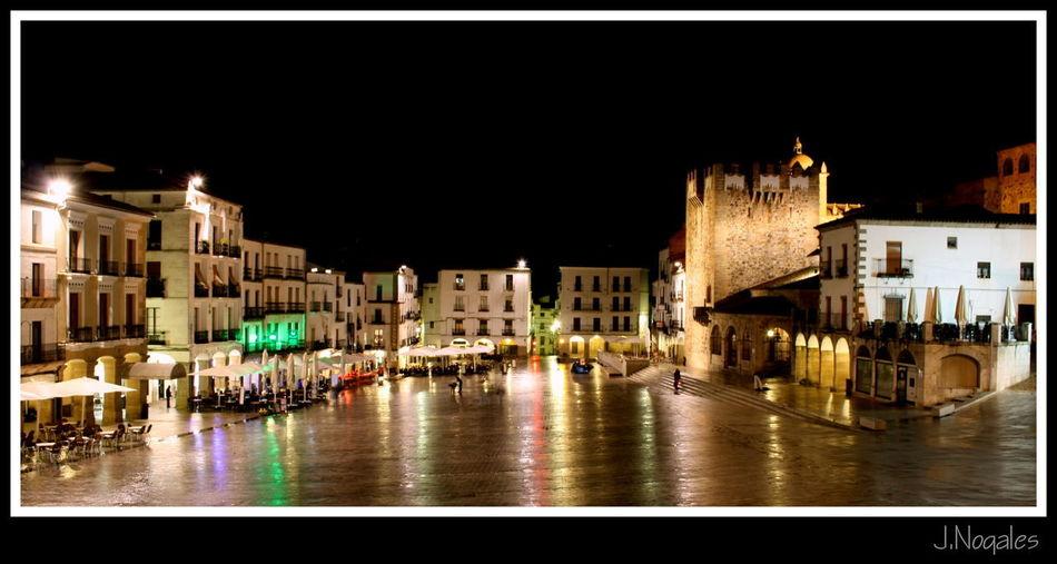 Illuminated Night Street City Architecture Travel Destinations Cityscape Building Exterior History Medieval Extremadura, Spain Cáceres Plaza Mayor