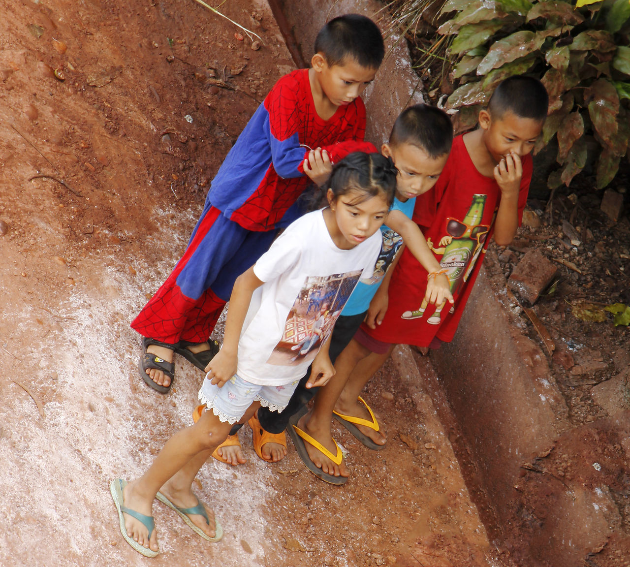 childhood, boys, high angle view, full length, girls, outdoors, elementary age, real people, togetherness, day, child, standing, people