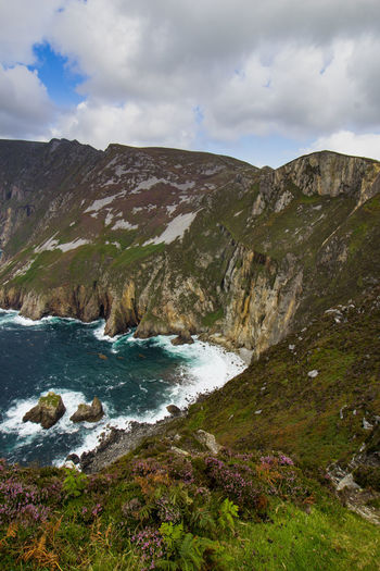 Cliff Cloudy Coastline Ireland Landscape Mountain Mountain Range No People