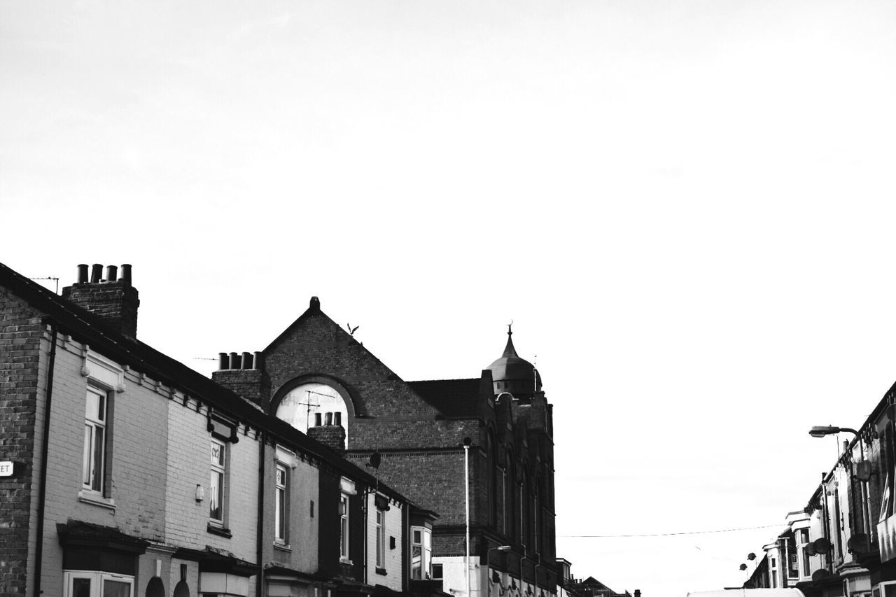 Street View | Building Exterior Architecture Built Structure Sky Outdoors Day No People Exploring Taking Photos EyeEm Gallery Eye4photography  Street Photography Streetphotography Urban Landscape Urban Clear Sky Black And White Blackandwhite Houses