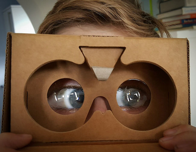 Seeing VR for the first time? OO Mission OO Mission. Cardboard Enlarged Eyeballs  Son OO Mission View Virtual Reality Virtual Reality Headset Eyes Magnified