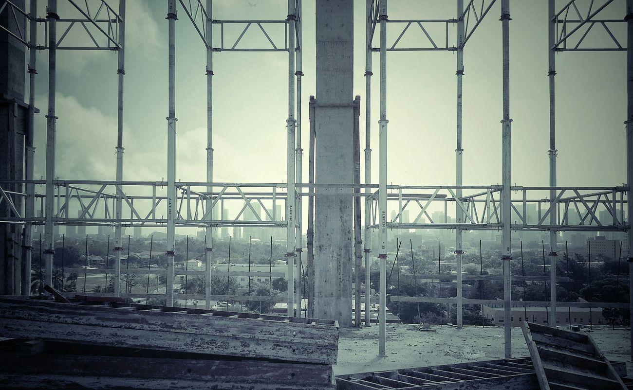 Skyline Sky Construction Fog Building Lines Clouds And Sky Concrete