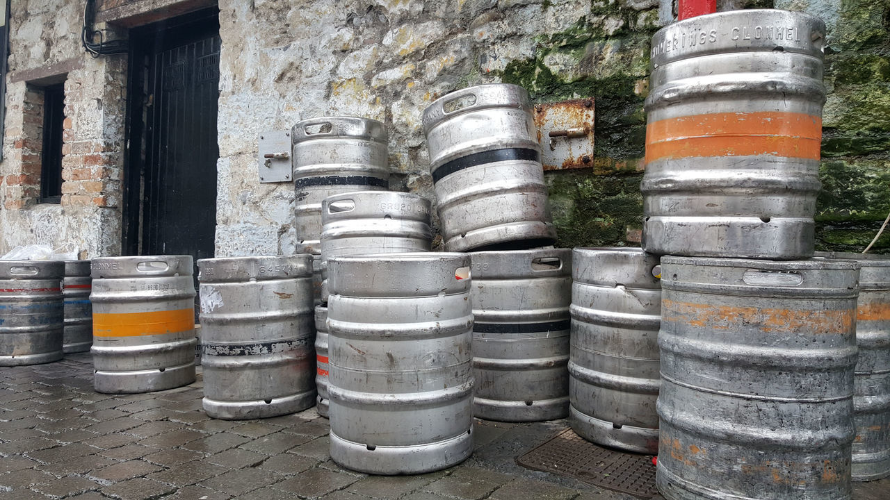 Barrel Beer Kegs Drum - Container Empties No People Outdoors Pub Public House