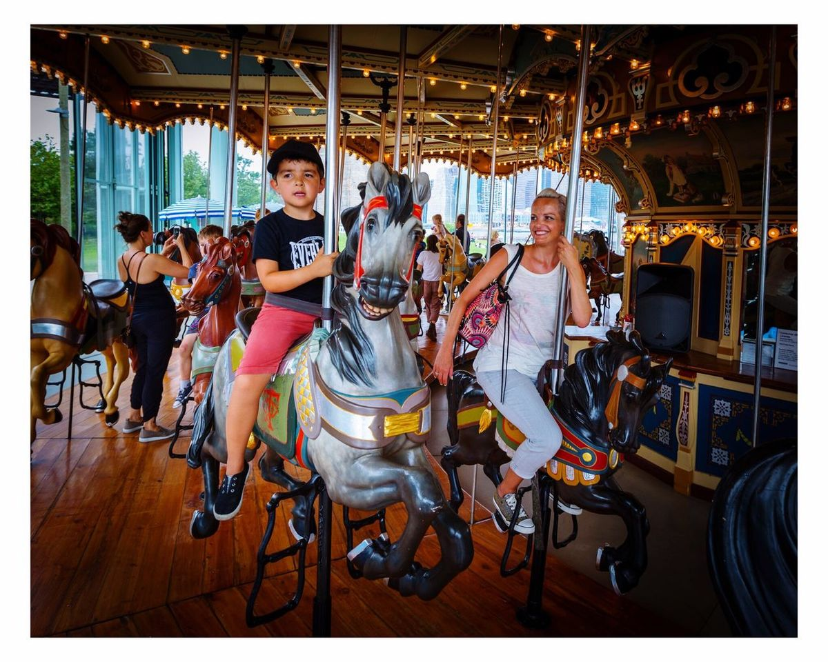 Having fun Carousel Young Adult Happiness Beautiful Woman New York Canon 5d Mark Lll 16-35 2.8 Ii Brooklyn Enjoyment People Travel Family Two People Smiling Happy Happy People Family Time