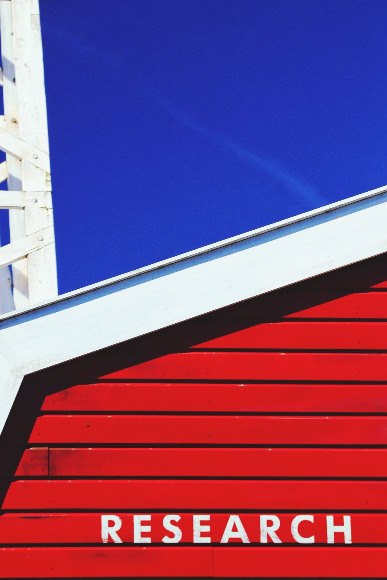 Red Built Structure Building Exterior Sky Outdoors Science Station Low Angle View Wooden Building Clear Sky Research And Development Research Station Research Blue Sky Wooden House Blue Communication