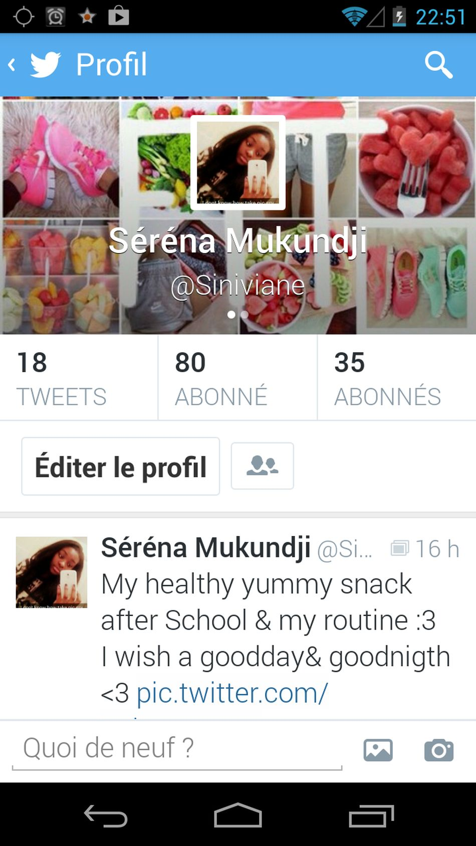 my twitter evolution [++++] I weigth 47 now!!!!!! i lose 2 kilos help me to accomplish my goal...Follow me :3 Twitter Follo