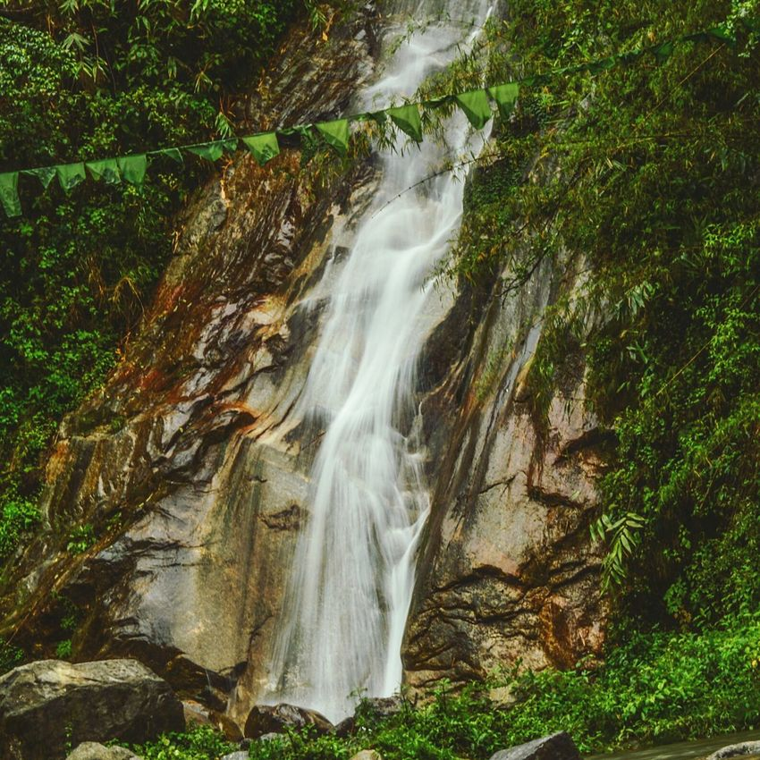 Waterfall Beauty In Nature Scenics Water Waterfall Grass Nature No People Motion Plant Travel Destinations Outdoors Nature Photography Sikkimese Sikkim,india Sikkimtourism Leaf Drop Wet RainDrop Freshness Green Color Defocused Eyes