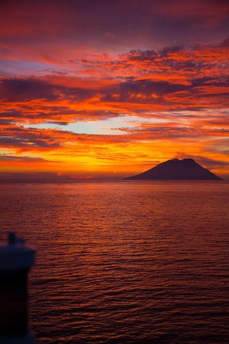 Colours Of Sunrise Italy Mediteranian Coast Mediterranean  No People Sea And Sky Stromboli Volcano Sunrise_Collection Volcano Volcano Landscape