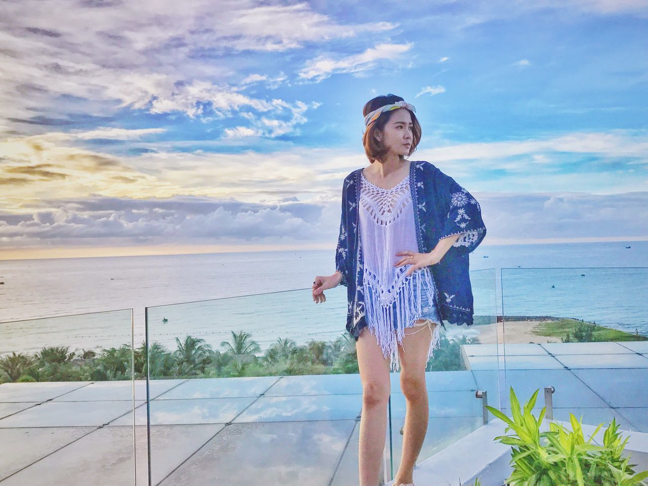 real people, sky, one person, sea, nature, outdoors, cloud - sky, water, standing, leisure activity, day, horizon over water, lifestyles, beauty in nature, front view, scenics, beach, happiness, full length, smiling, vacations, young women, young adult