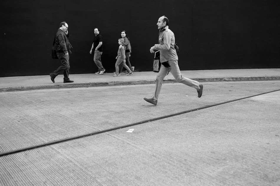 Adult Black And White Canon6d Cat Chicago Day New York People Running Running Late Sigma Sigma 35mm Art Sigmalens