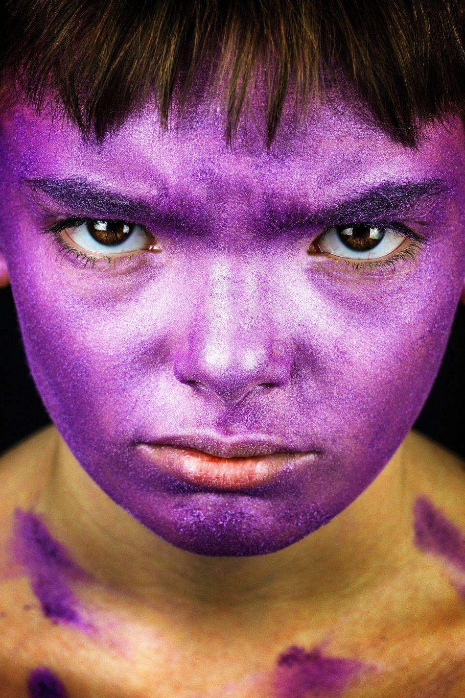 Purple child. Color Portrait Portraits Of EyeEm Portrait Photography Portrait Human Face Eye Children Photography Portraiture Colorful Colors Purple Facial Expression Studio Shot Fresh On Market 2017