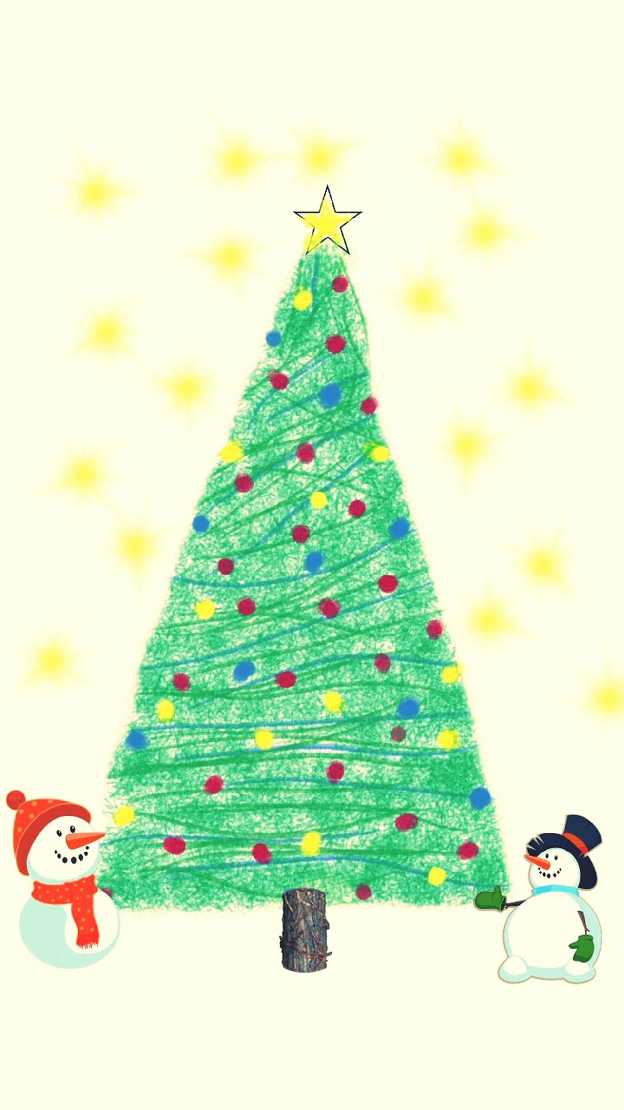 Happy Christmas Snowmen Tree Christmas Tree Decorating My Drawings Art And Craft This Is My Art!!! Having Fun :) Holiday Season Its Coming,,