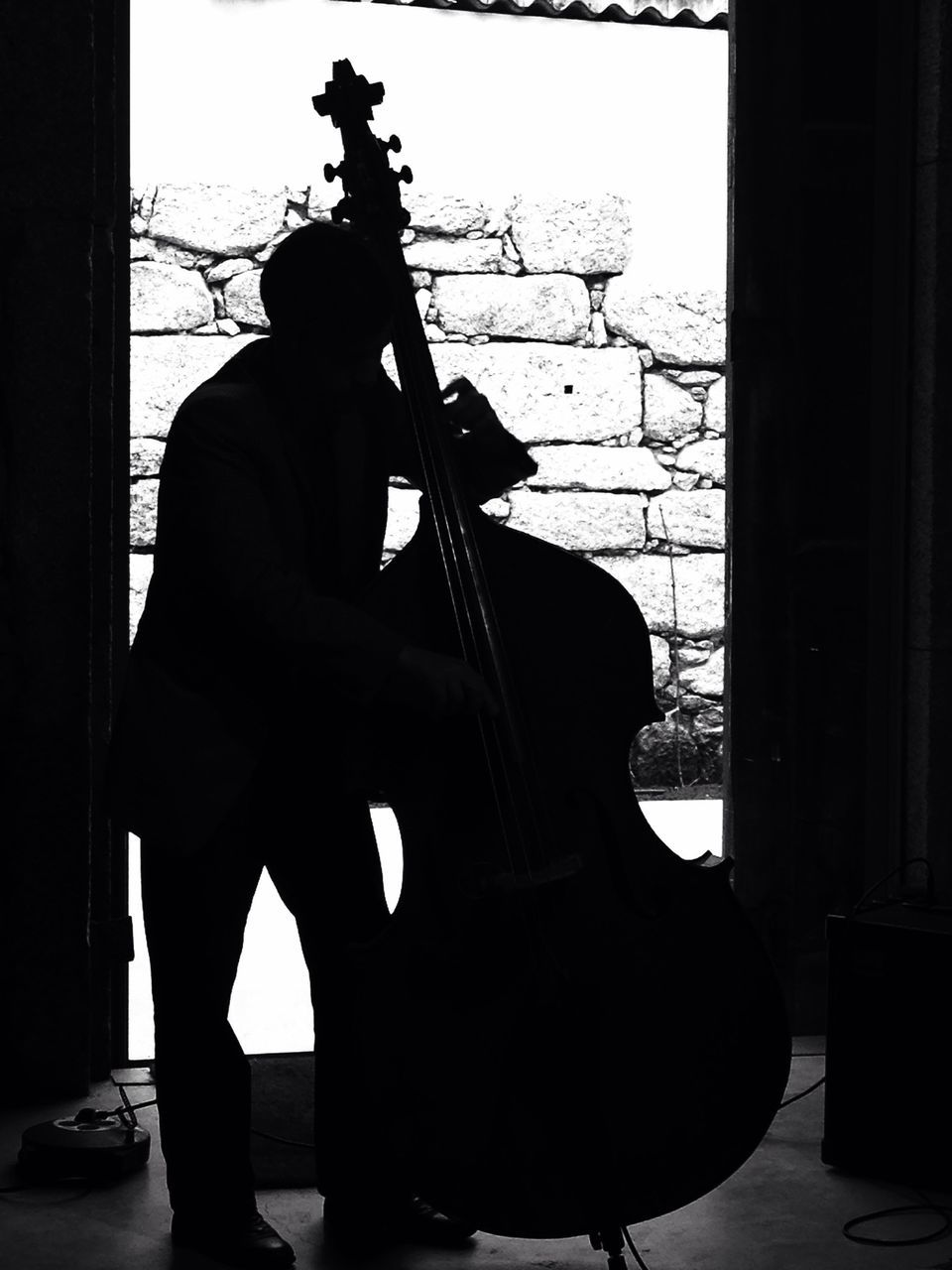 Silhouette Musician Playing Double Bass