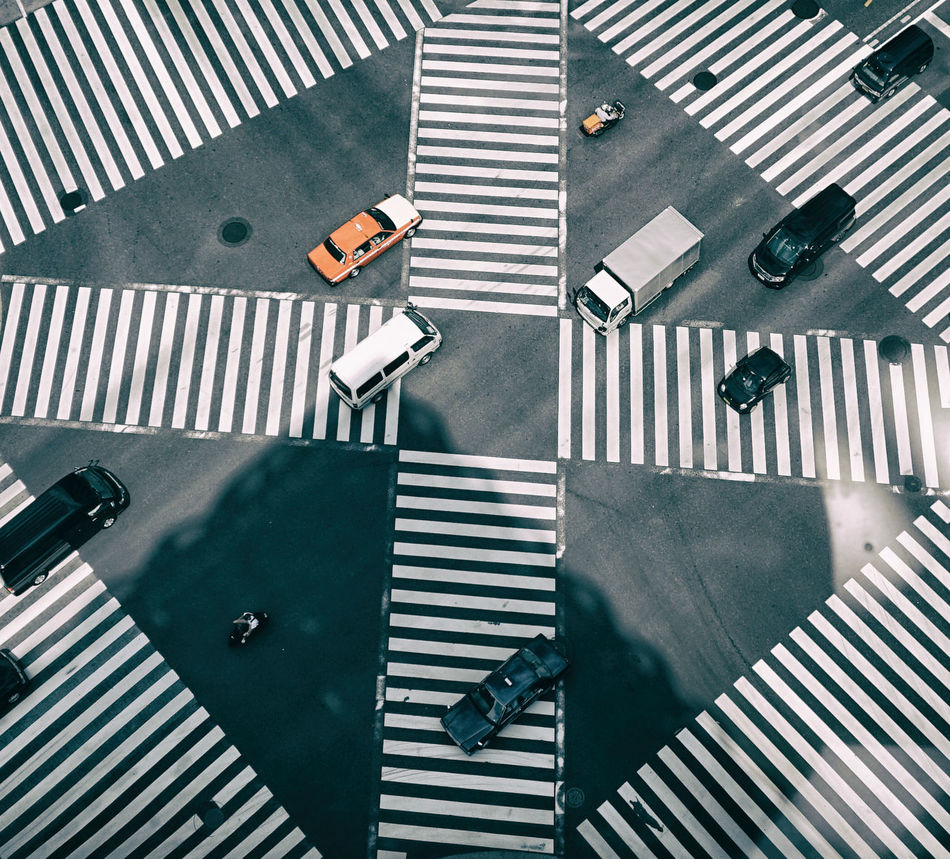 Car Crossing Crossroads High Angle View Intersection Japan Modern Motercycle Shadow Tokyo Transportation Urban Zebra Zebra Crossing