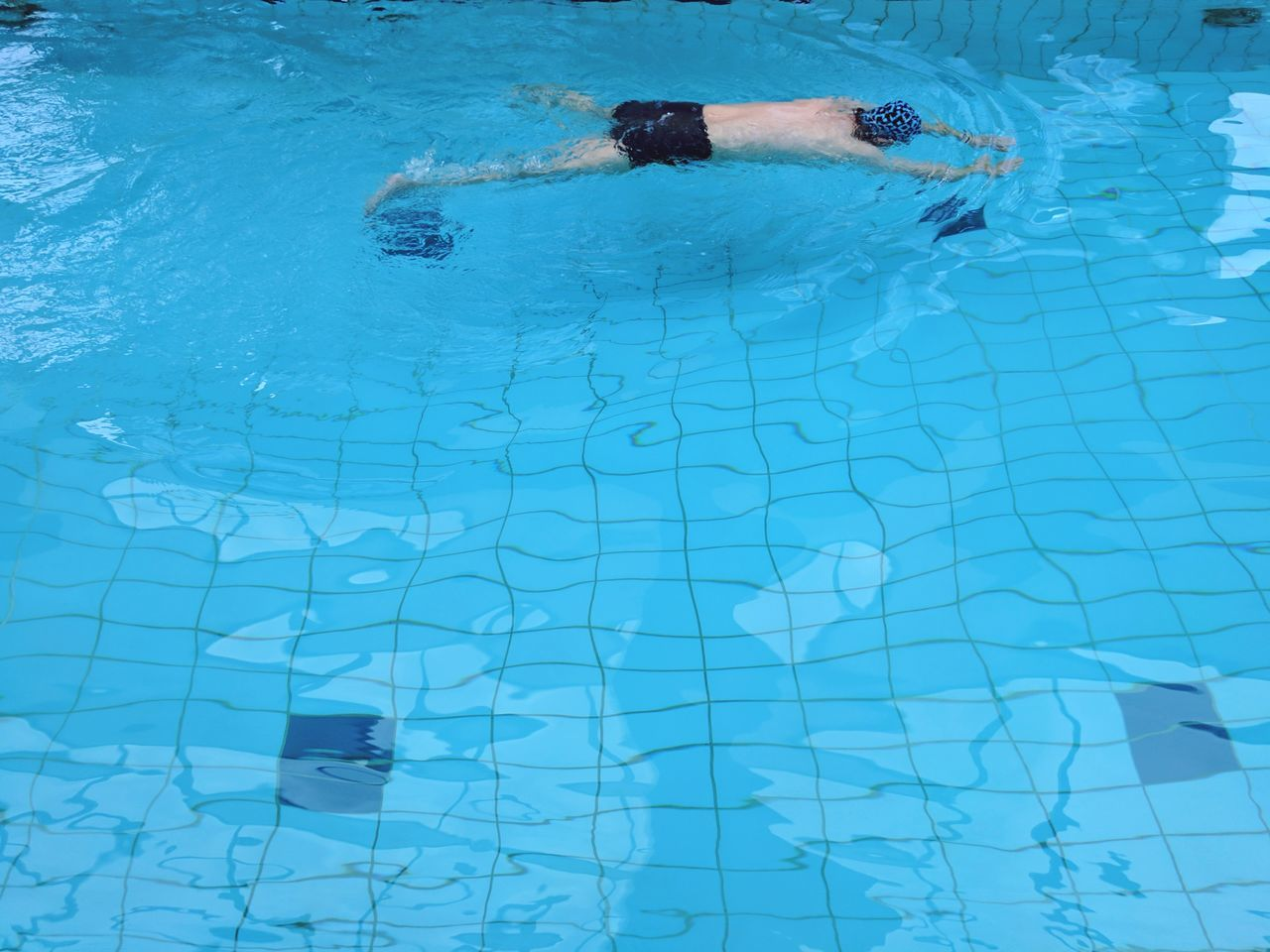 Swimming Pool Water Blue One Person Full Frame Pixelated Exercising Authentic Moments Relaxing Healthy Lifestyle Swimming