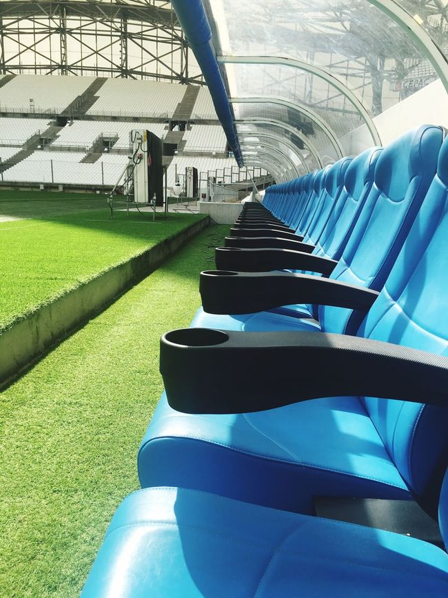 Subs bench at the stade velodrome Football Bench Manager France