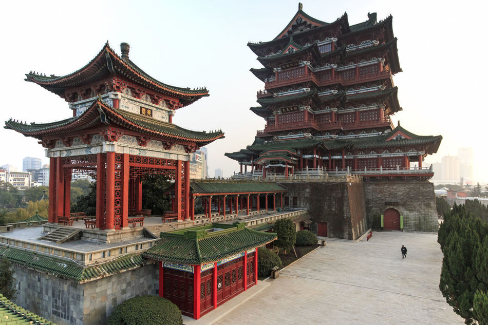 Nanchang, China - December 30, 2015: Tengwang Pavilion in Nanchang at sunset, one of the four famous towers in south China Architecture ASIA Building Exterior Built Structure China Chinese New Year Culture Cultures Famous Place History Jianxi Metropolis Modern Building Nanchang Pagoda Pavilion On Lake Place Of Worship Province Religion Spirituality Temple Temple - Building Tengwang Tradition Travel Destinations