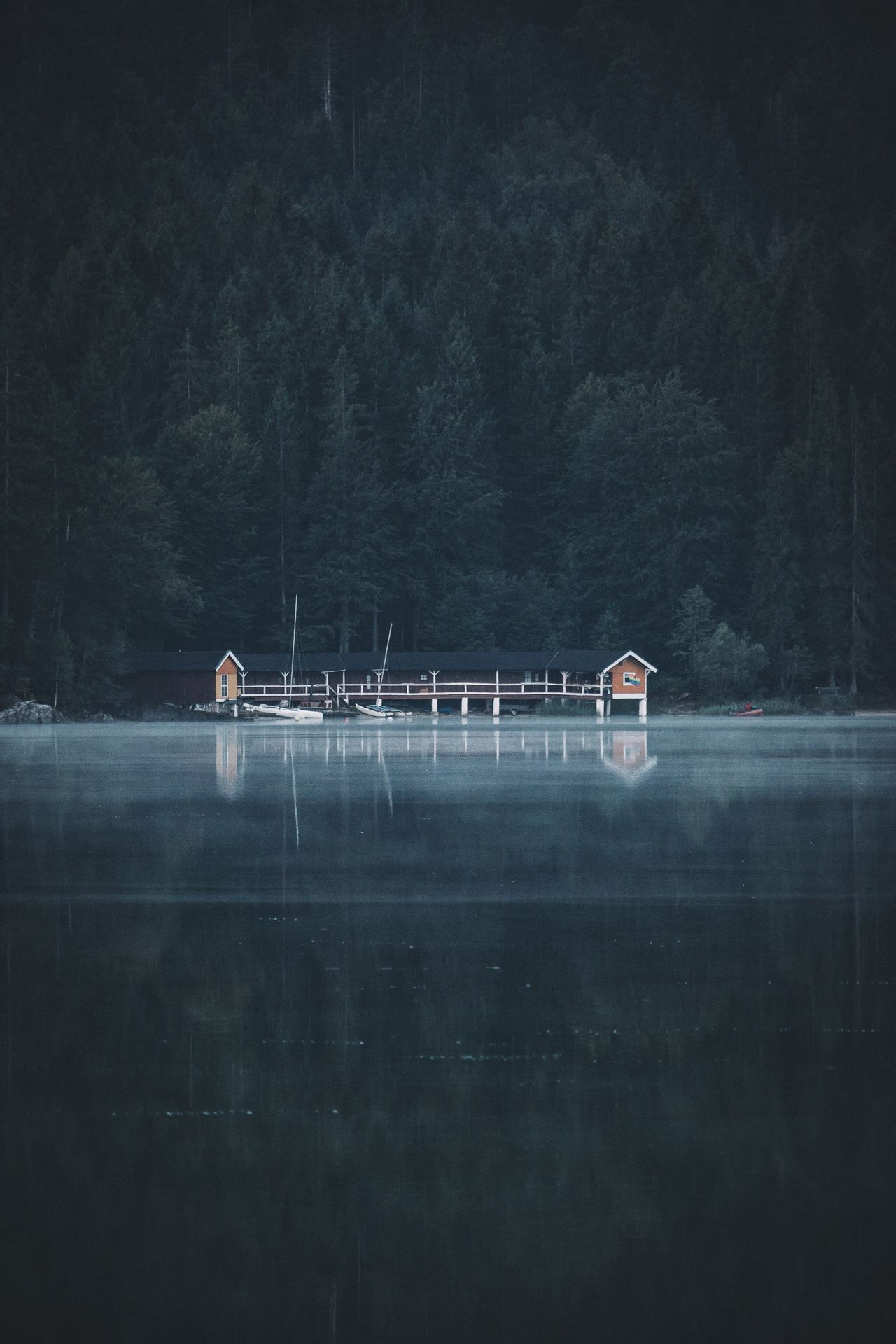 Boathouse at morning. Tranquility Beauty In Nature Scenics Nature Tranquil Scene Nautical Vessel No People Outdoors Water Tree Sky Day Bavaria Alps