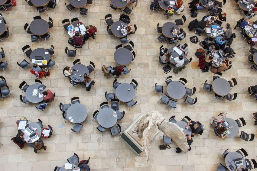 Atrium Central of the University of Zurich, Switzerland Arrangement Art Business Check This Out Choice Creativity Directly Above Eth Everyday Education Eye4photography  EyeEm Best Shots High Angle View Indoors  Large Group Of Objects Learning Multi Colored My Student Life Starting A Trip Students Everything In Its Place Traveling University View From Above Working Zürich
