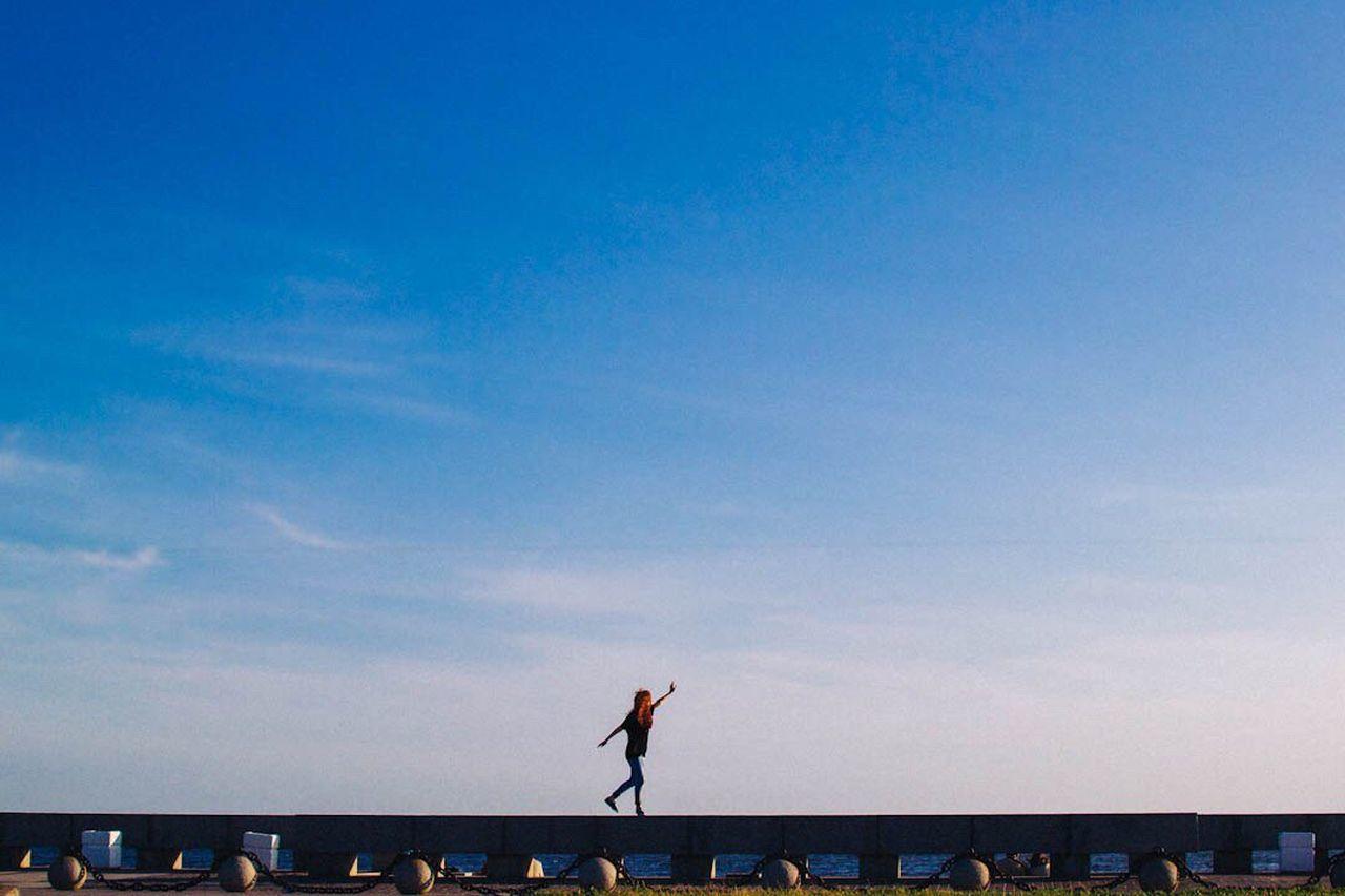Blue Sky Blue Girl Photography Russia Saint Petersburg Sea Park