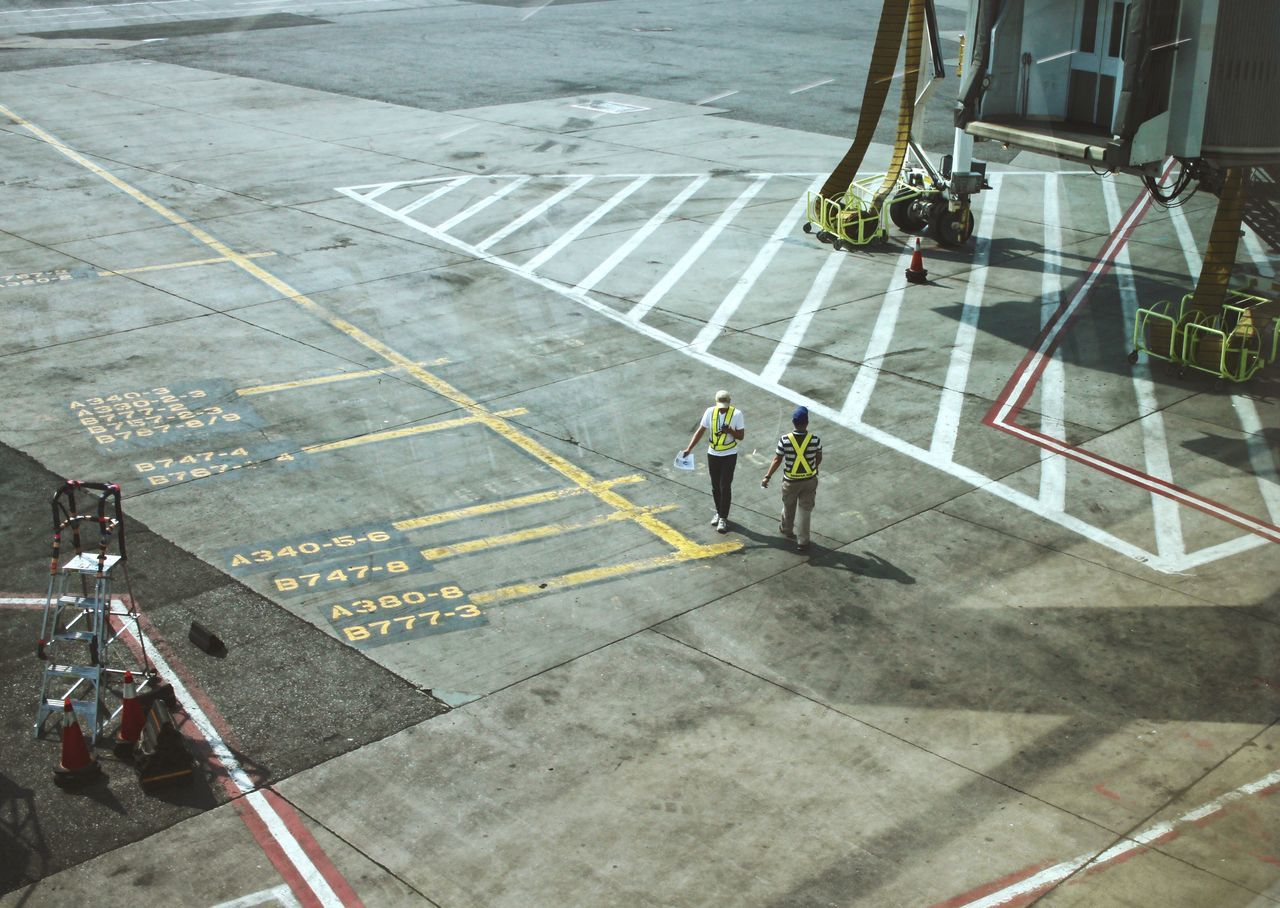 High Angle View Two People Break The Mold Protective Workwear Outdoors Reflective Clothing Working Occupation Airport VSCO New York Geometry Light And Shadow Work Safety Stripes Pattern