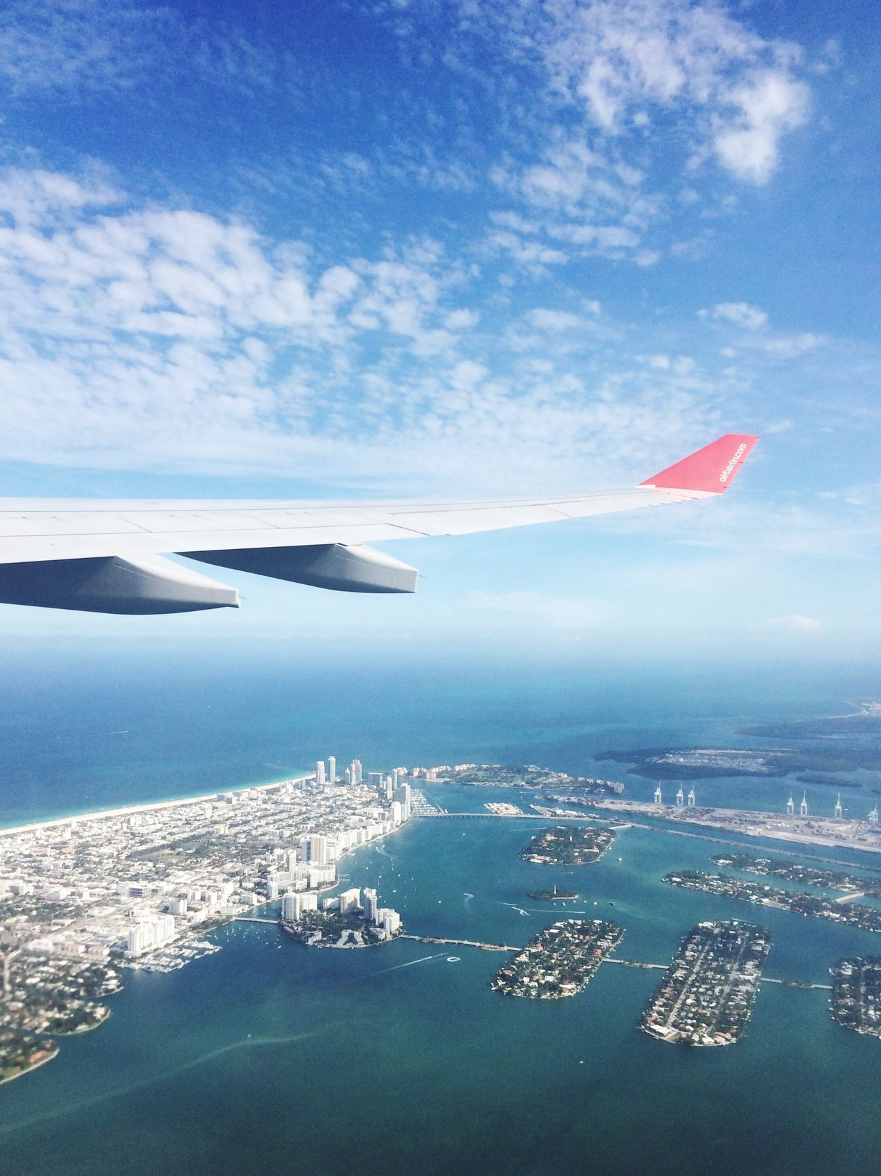 Aerial View Flying Sea Airplane City Transportation Cityscape Miami Beach