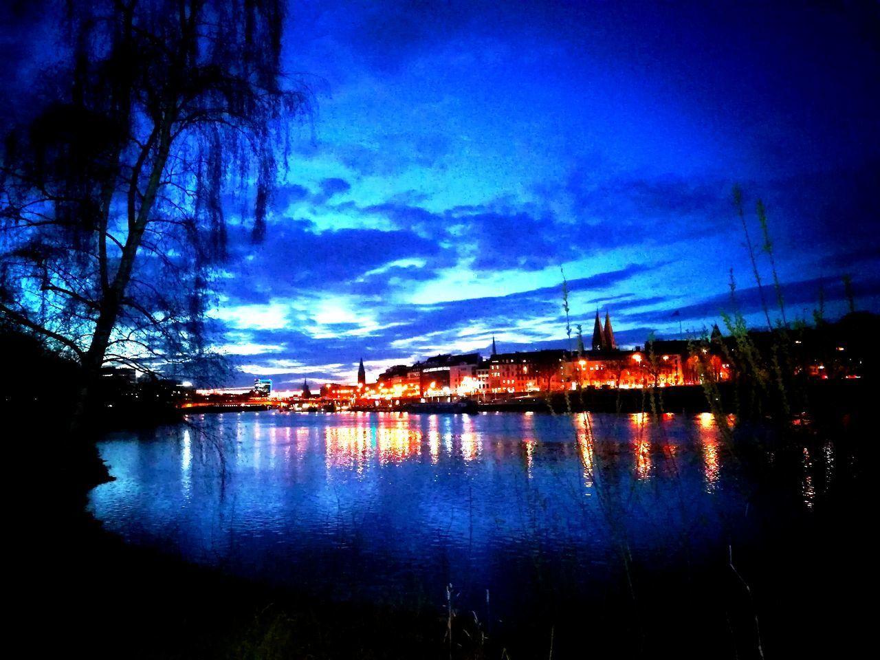 Sky Water Built Structure Outdoors Bremen Weser River Night Bremen Germany Sunset No People Cloud - Sky Silhouette Wonderful