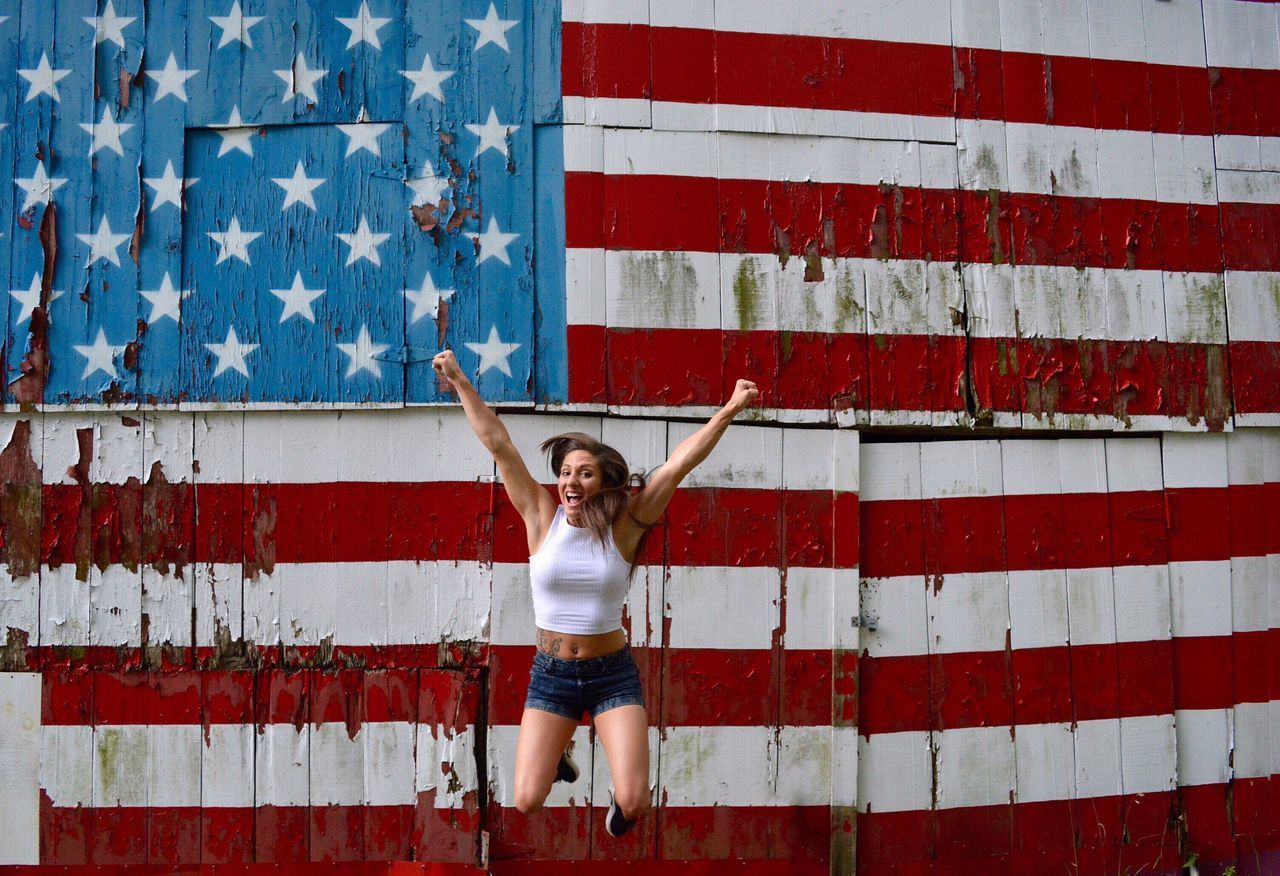 Beautiful stock photos of sterne, 25-29 Years, American Flag, Arms Raised, Beautiful Woman