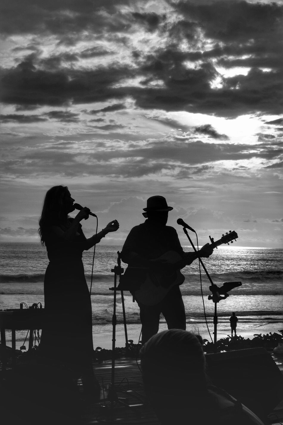 song for sunset Photography Themes Camera - Photographic Equipment Water Sea Standing Cloud - Sky Women Sky Outdoors nature Adult Day People Sunset Sunset_collection Sunset Silhouettes Blackandwhite Real People Duet Music Black And White Blackandwhite Photography Man Bali Bali, Indonesia INDONESIA