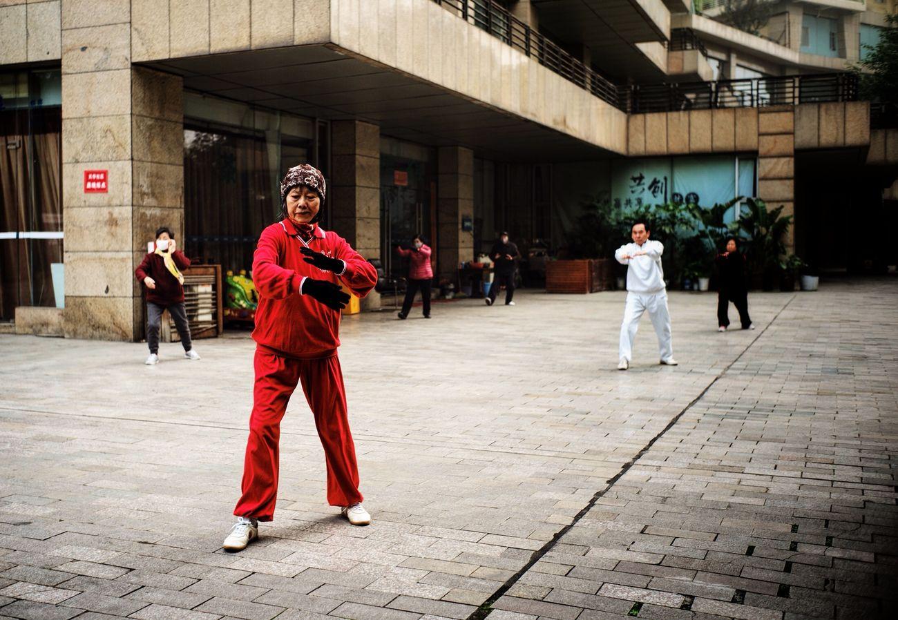 Adult Chengdu China City Morning Outdoors People Tai Chi Women