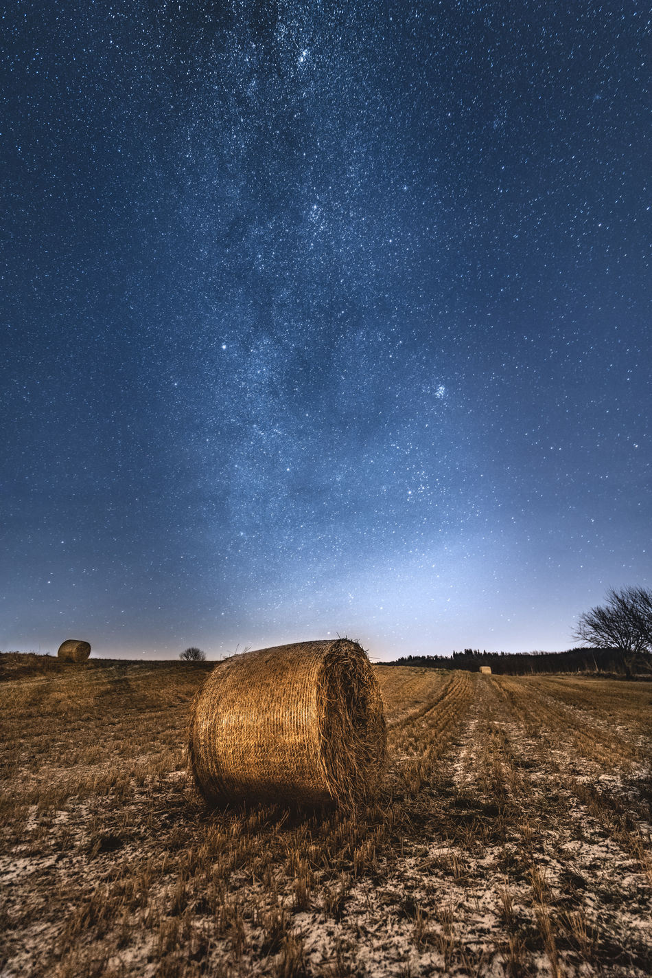 Waiting under the stars. Astronomy Bale  Beauty In Nature Blue Farming Field Galaxy Hay Landscape Milky Way Milkyway Nature Night No People Outdoors Rural Scene Sky Snow Space Space And Astronomy Star Star - Space Stars Winter