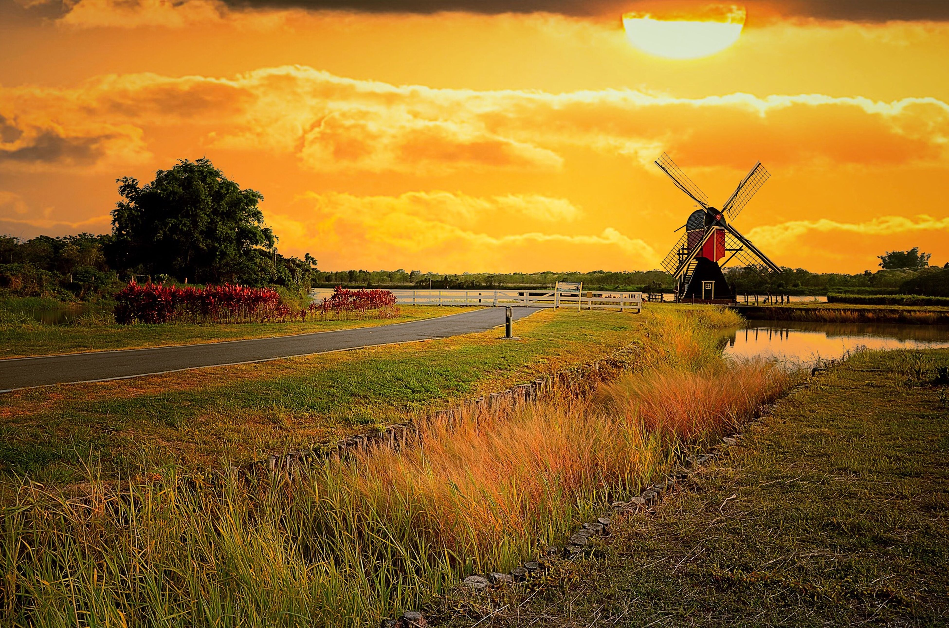 sunset, orange color, sky, tranquil scene, scenics, water, tranquility, beauty in nature, field, grass, nature, alternative energy, landscape, windmill, silhouette, cloud - sky, environmental conservation, sun, idyllic, fuel and power generation