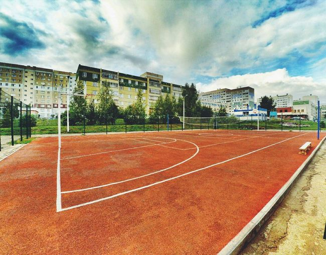 The Color Of Sport Architecture Building Exterior Built Structure Sky Cloud Residential Building Sport City Outdoors Playing Field Day Surface Level Cloud - Sky No People Solitude Xiaomi Yi Action Camera