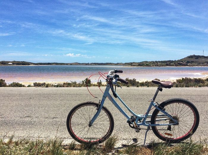 Pink Bike Riding Pink Lake Pink Bicycle Sky Water Stationary Beach Day Tranquility Mode Of Transport Transportation EyeEmNewHere