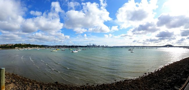 New Zealand Day EyeEm Best Edits Blue W0rldphotography Eye4photography  Showcase: November Outdoors Clouds And Sky Harbor Boats⛵️ Panoramic Photography Sky And Clouds Auckland New Zealand Auckland City Cityscapes Open Edit