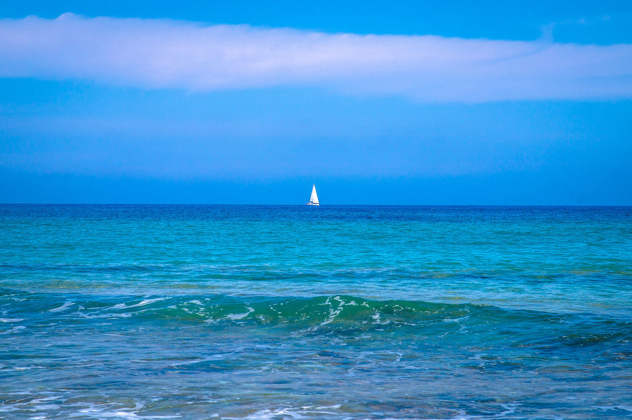 sea, horizon over water, beauty in nature, water, scenics, nature, tranquil scene, tranquility, blue, sky, waterfront, outdoors, no people, day, wave